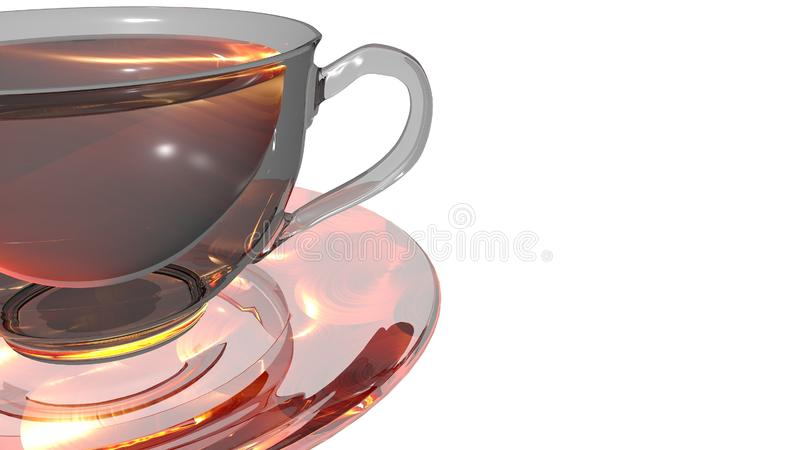 Shining glass cup of hot aromatic tea placed over a transparent saucer. Shining glass cup of hot aromatic tea isolated on white background and placed over a royalty free illustration