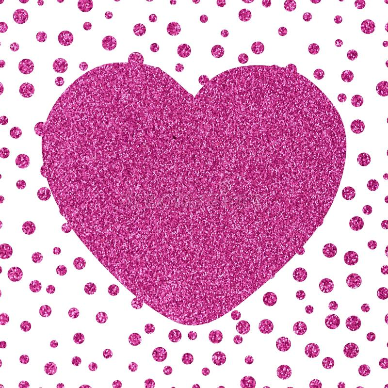 Shining glittery background with chaotic dots. Of different sizes and the big pink heart Theme and Valentine`s Day Idea for greetings vector illustration