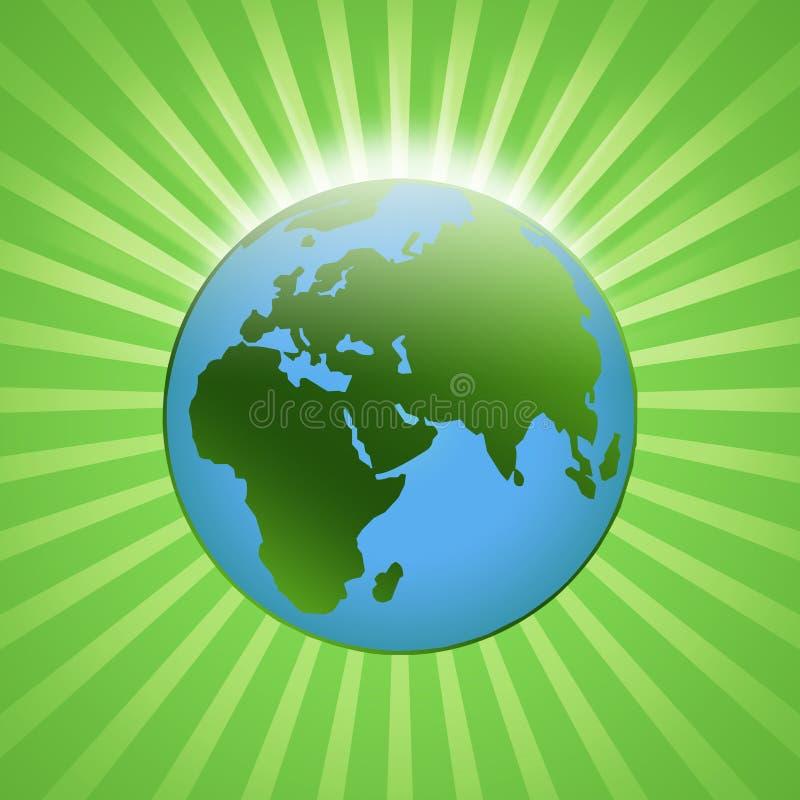 Shining globe. Green and blue shining globe stock illustration