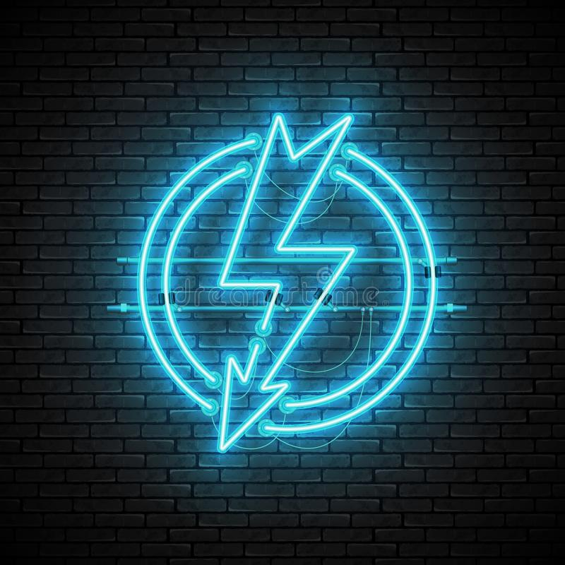 Shining and glowing blue lightning neon sign in circle on brick wall. Shining and glowing blue lightning neon sign in circle isolated on brick wall background vector illustration