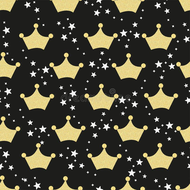 Shining gold crown with black stars. Seamless fabric pattern for textile design with black background royalty free illustration