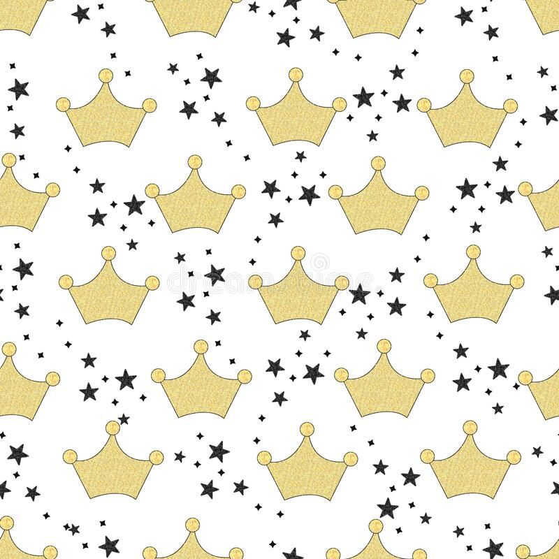 Shining gold crown with black stars. Seamless fabric pattern for textile design with white background royalty free illustration