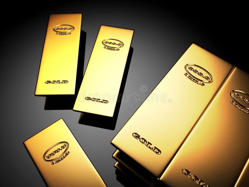 Shining goldbars on reflective surface