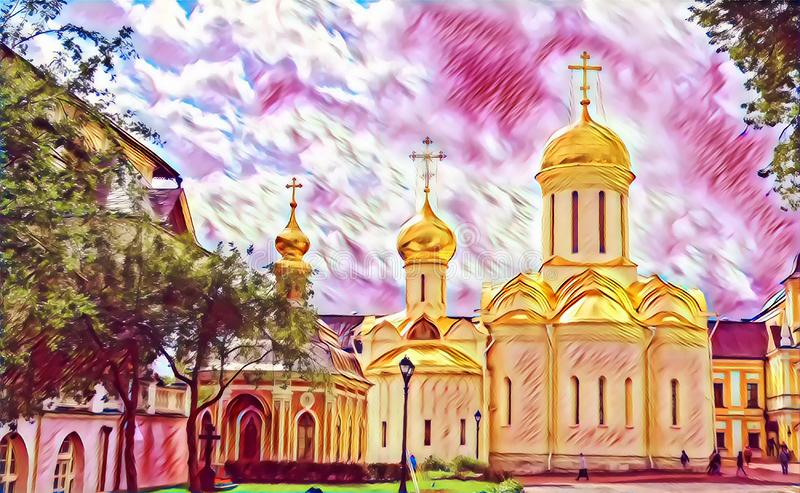 Photographic art picture of shining golden cupola of orthodox church of The Holy Trinity Saint Sergius Lavra. Shining golden cupola of orthodox church of The royalty free illustration
