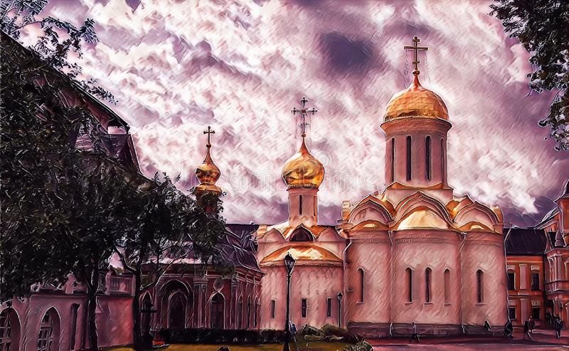 Photographic art picture of shining golden cupola of orthodox church of The Holy Trinity Saint Sergius Lavra. Shining golden cupola of orthodox church of The stock illustration