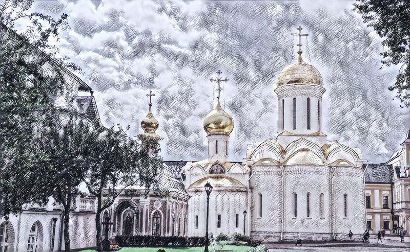 Photographic art picture of shining golden cupola of orthodox church of The Holy Trinity Saint Sergius Lavra. Shining golden cupola of orthodox church of The vector illustration