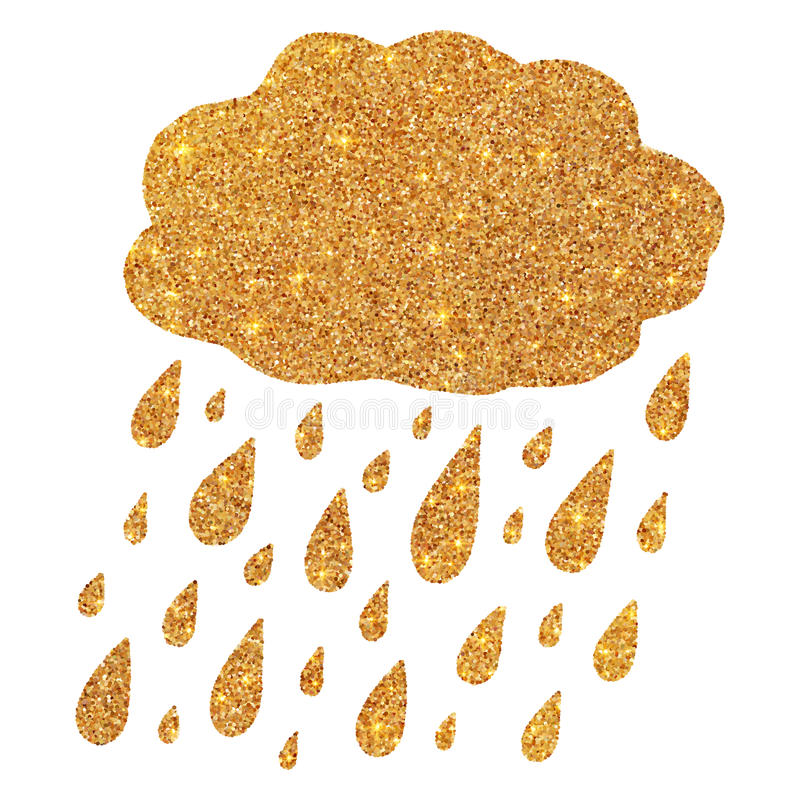 Shining golden glitter cloud with rain drops vector illustration