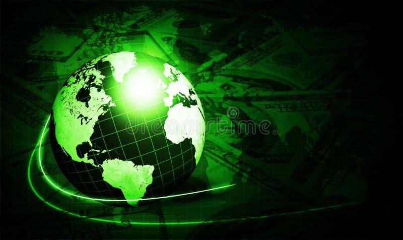 Shining Green Globe With Dollars Royalty Free Stock Photos