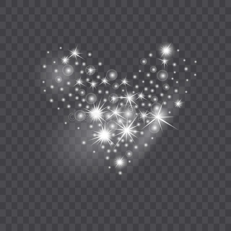 Shining heart from glittering stars and sparkles on transparent background stock illustration