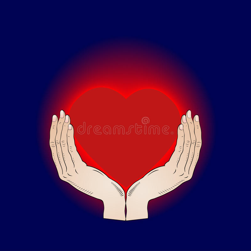 Shining Heart In The Hands Royalty Free Stock Images