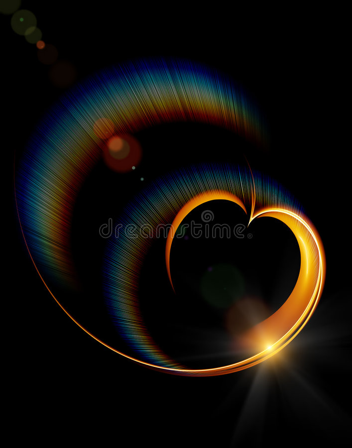 Download Shining Heart With Rainbow Rays Stock Illustration - Image: 7774951