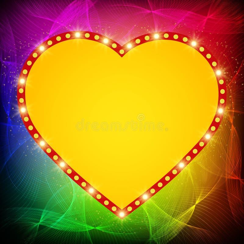 Shining heart on waves background. Vector illustration stock illustration