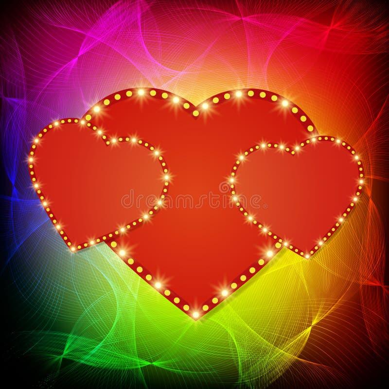 Shining heart on waves background. Vector illustration royalty free illustration