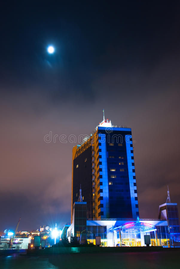 Download Shining Hotel Odessa Building At Night Stock Image - Image: 14903759