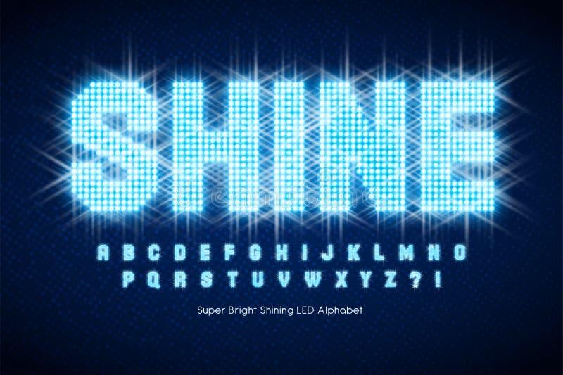 Shining LED light alphabet, extra glowing font. royalty free stock image