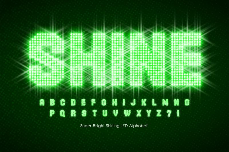Shining LED light alphabet, extra glowing font. stock images