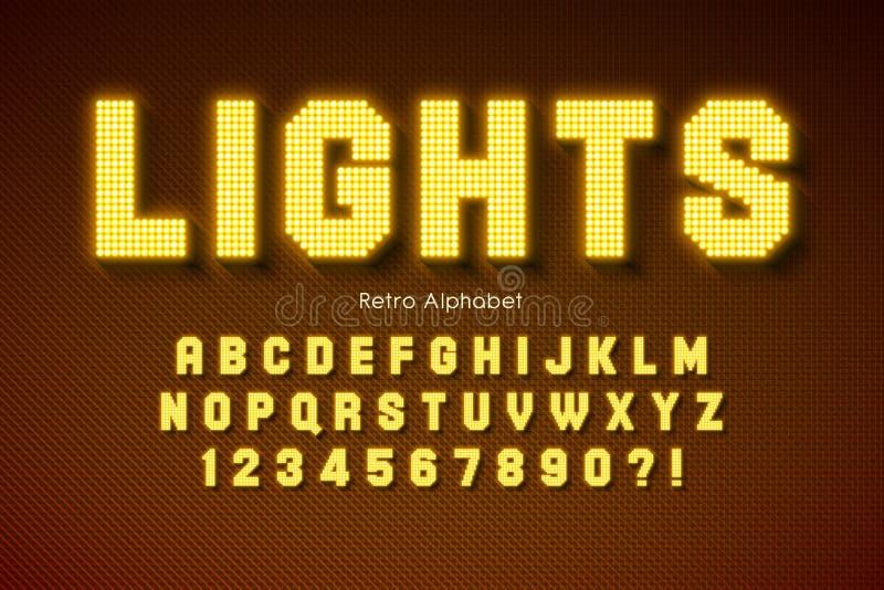 Shining LED light alphabet, extra glowing font. stock photos
