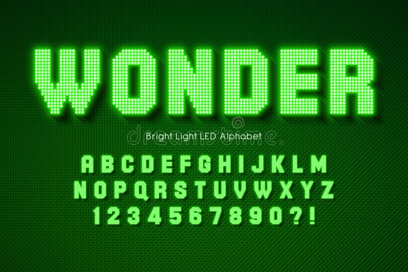 Shining LED light alphabet, extra glowing font. royalty free stock photography
