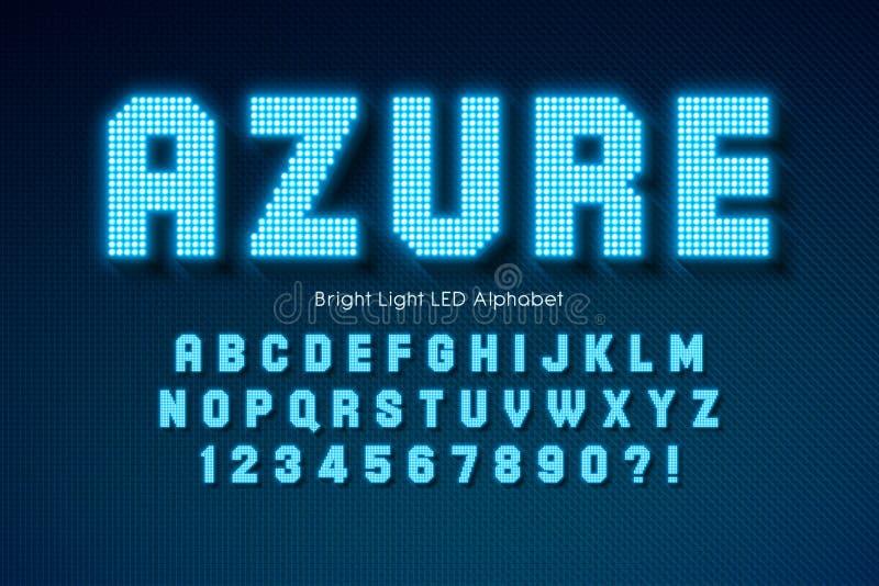 Shining LED light alphabet, extra glowing font. royalty free stock images