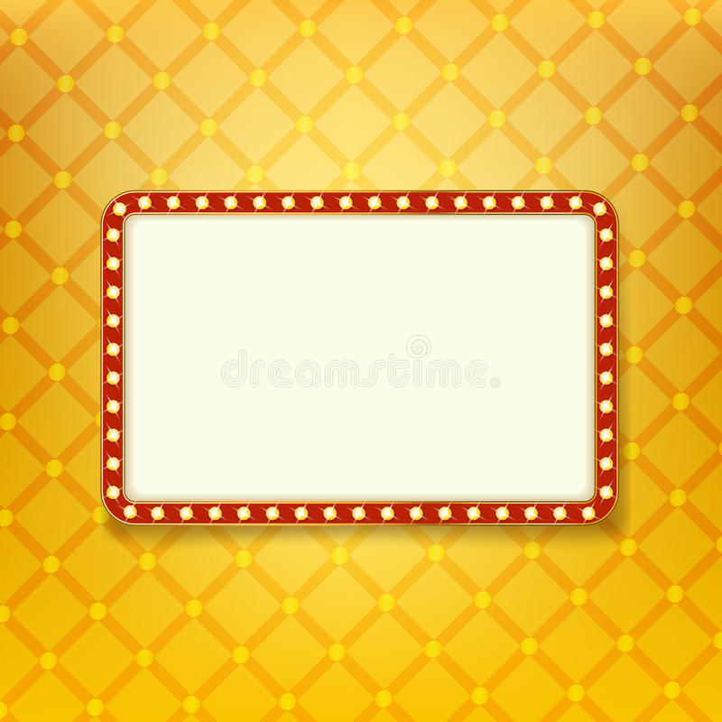 Shining light banner. Retro golden frame with neon lights. Billboard with space for text on background with royal pattern. Vector template for Your design stock illustration