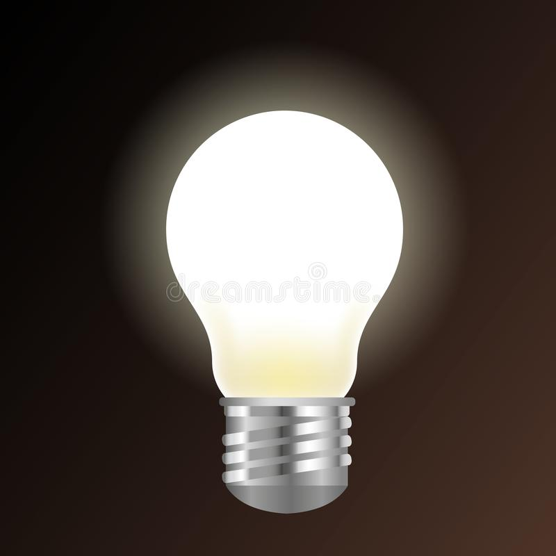 Shining light bulb isolated on dark background vector illustration.  stock illustration