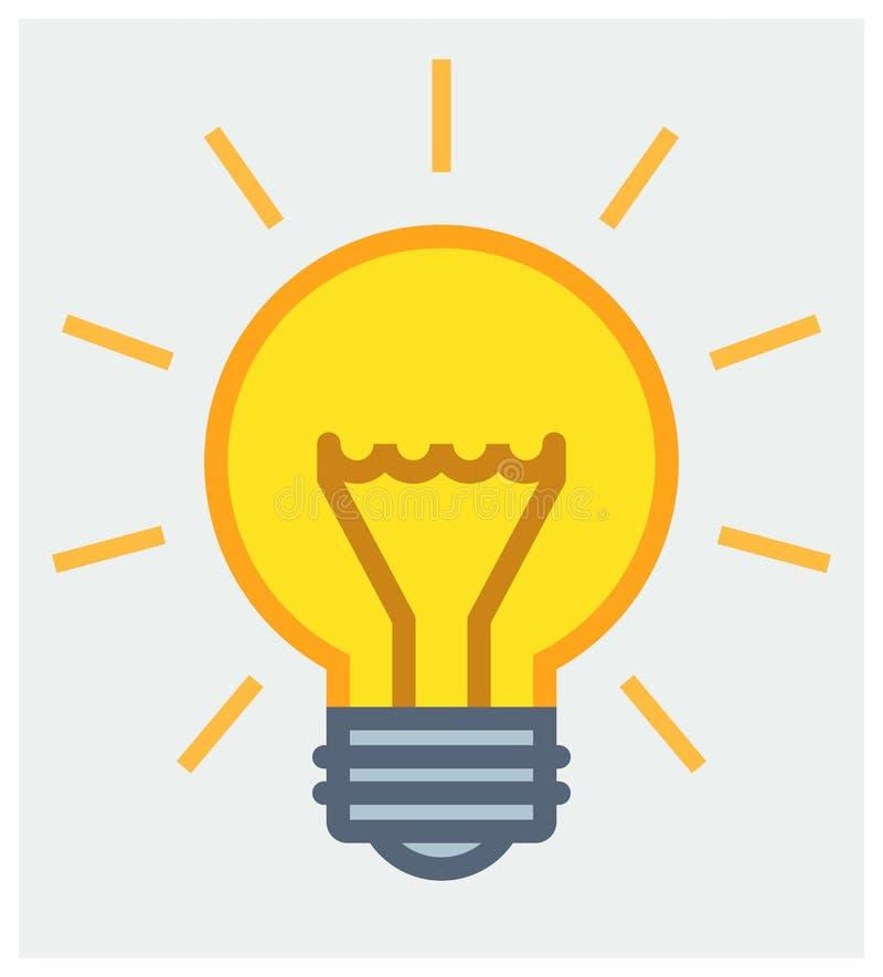 Shining light bulb poster. Vector illustration of shining yellow light bulb stock illustration