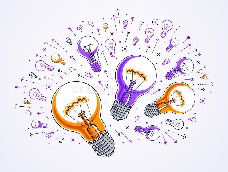Shining light bulb and set of lightbulb icons, ideas creative concept, brainstorm allegory. Shining light bulb and set of lightbulb icons, ideas creative royalty free illustration