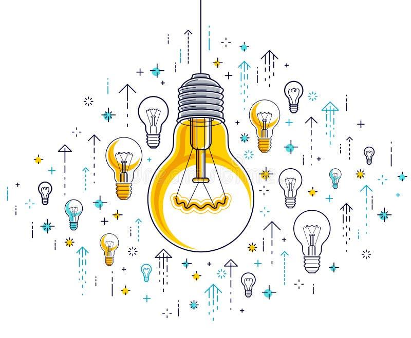 Shining light bulb and set of lightbulb icons, ideas creative concept, brainstorm allegor. Shining light bulb and set of lightbulb icons, ideas creative concept royalty free illustration