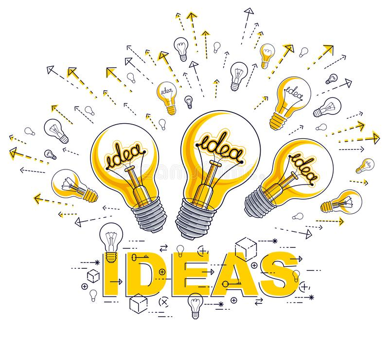 Shining light bulb and set of lightbulb icons, ideas creative concept, brainstorm allegory. Shining light bulb and set of lightbulb icons, ideas creative stock illustration