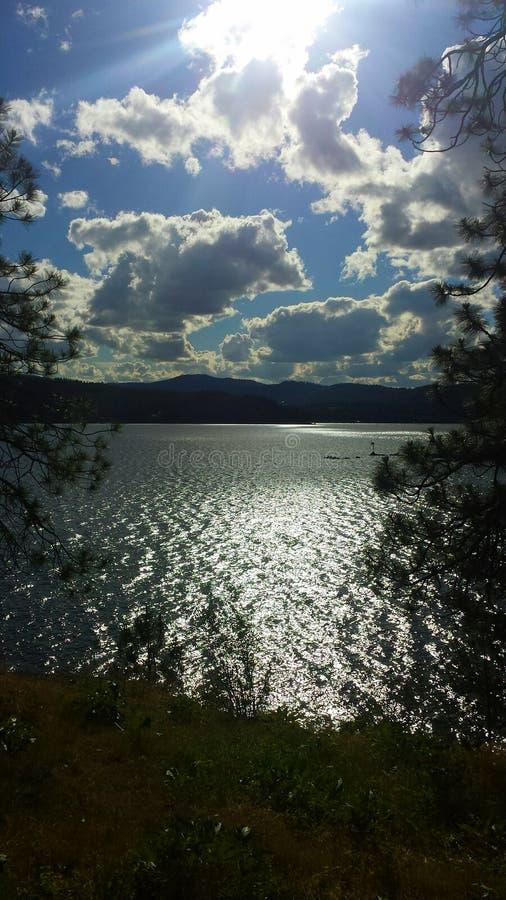 Shining light. On lake coeur d alene stock photo
