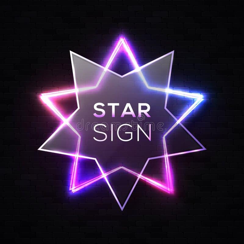 Shining light neon star background on black wall. royalty free illustration