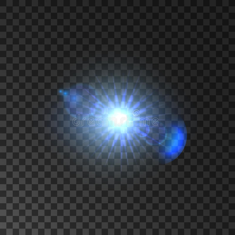 Shining light of star with lens flare effect stock illustration