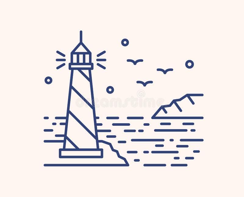 Shining lighthouse outline vector illustration. Blue linear seascape isolated on white background. Sea beacon, seagulls stock illustration