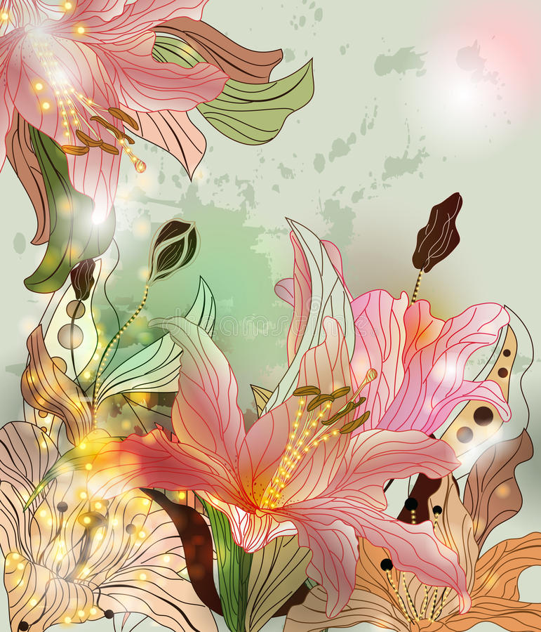 Download Shining lilies composition stock vector. Image of glowing - 23745358