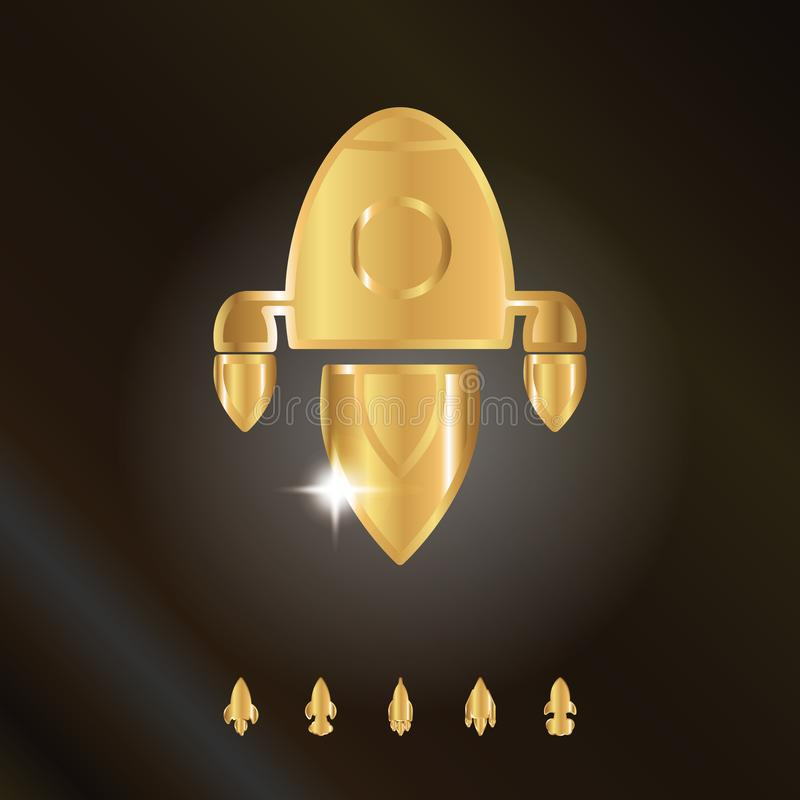 Shining Metal Gold Rocket or Spaceship Flat Icon royalty free illustration