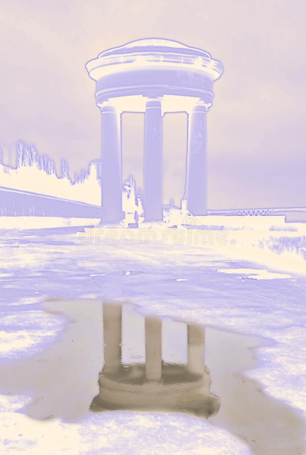 monument with realistic reflection in water stock illustration