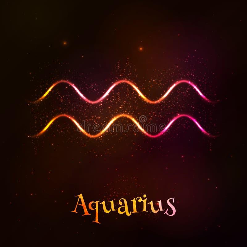 Shining neon zodiac Aquarius vector symbol stock illustration