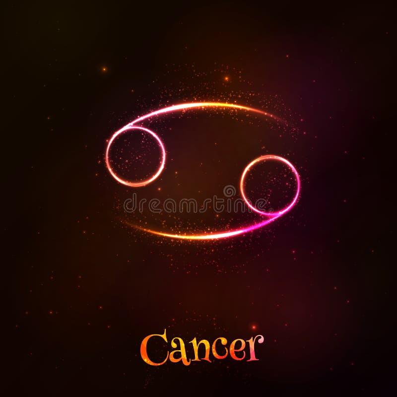 Shining neon zodiac Cancer vector symbol royalty free illustration