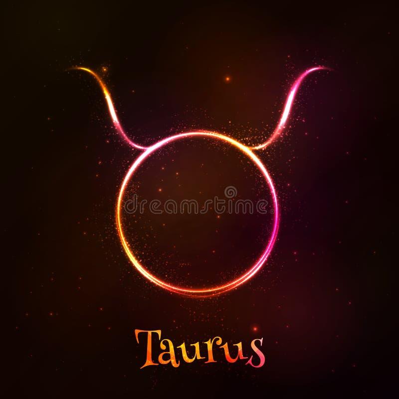 Shining neon zodiac Taurus vector symbol stock illustration