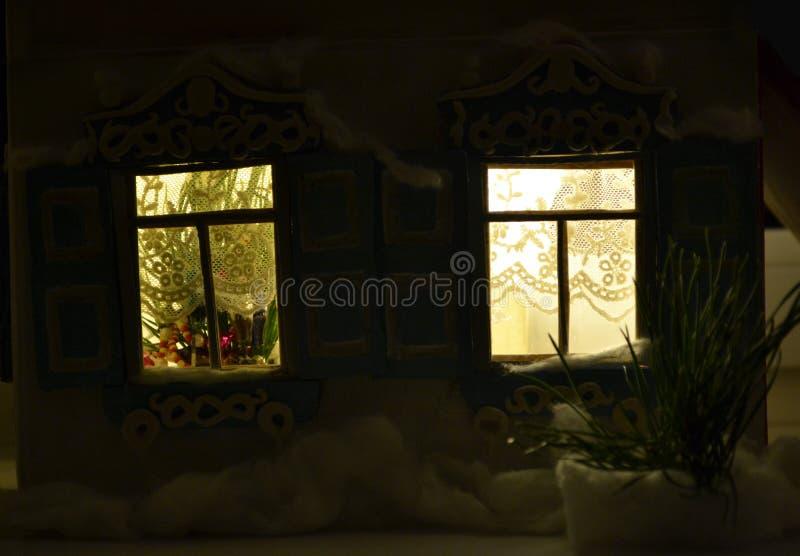Shining New Year windows in the night stock image