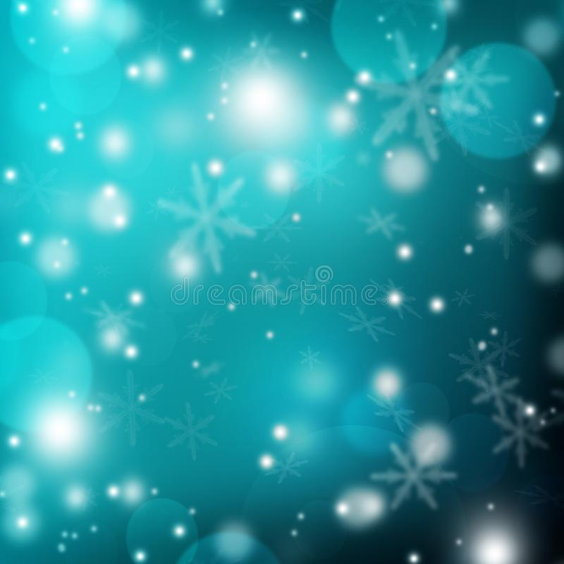 Shining night background. Snowfall. Light and bokeh. Winter nigh. Winter. Snowflakes swirl in the frosty air. Blurred night background with snow and bokeh. Blue royalty free illustration