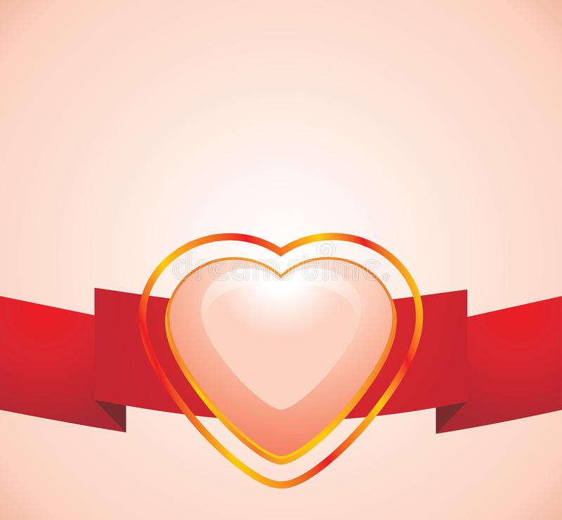 Shining Pink Heart On The Red Ribbon Stock Images