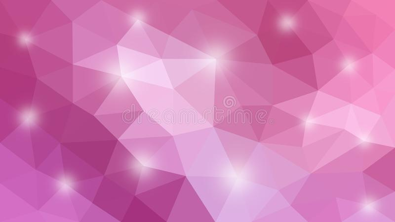 Shining Pink Polygonal Texture for Abstract Background. Abstract image of pink polygonal pattern with shiny spots for web background, banner, template or poster stock image
