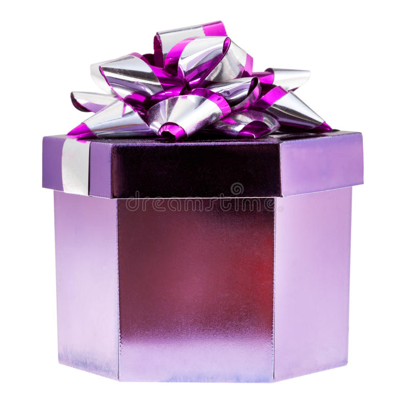 Shining purple gift box stock photography