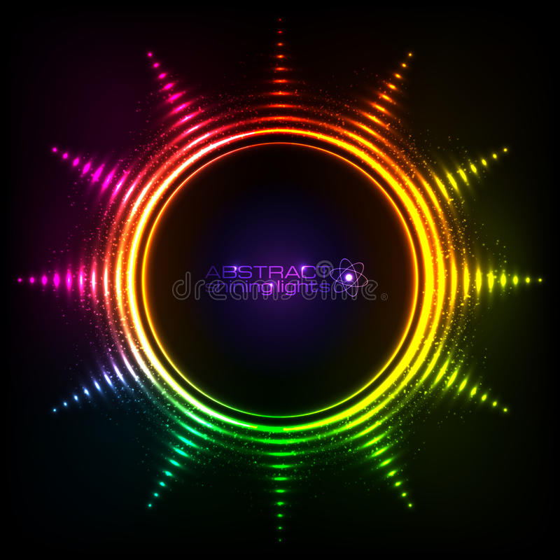 Shining rainbow lights abstract sun frame royalty free illustration
