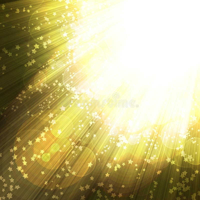 Shining rays and stars. Of glare on a dark background, abstract stock illustration
