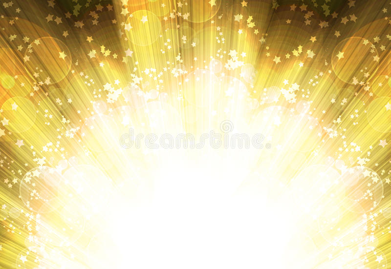 Shining rays and stars. Of glare on a horizontal background, abstract royalty free illustration