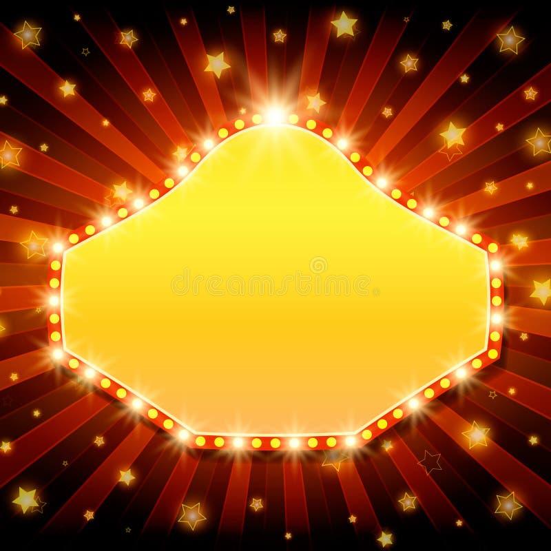 Shining retro light banner on red background. Vector illustration royalty free illustration