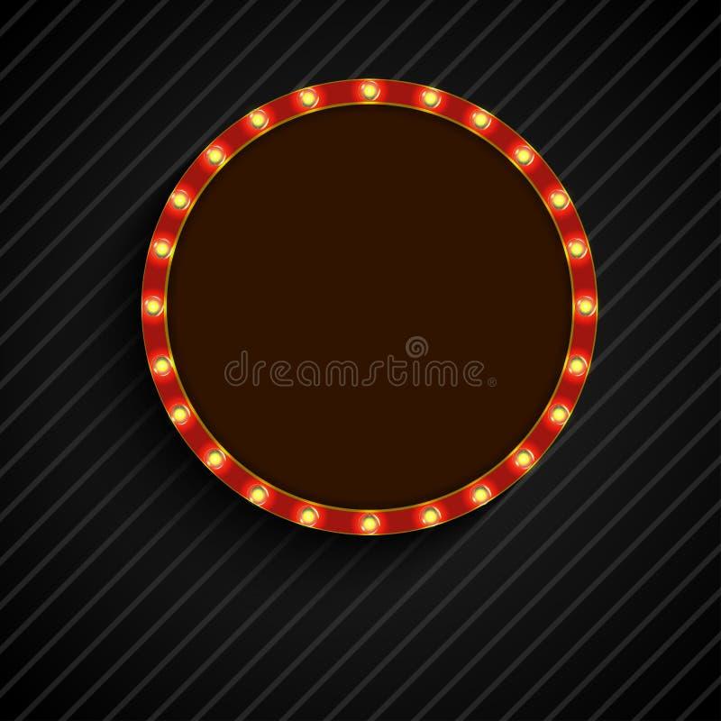Shining retro light of concept circle banner on black background. Illustration of Shining retro light of concept circle banner on black background vector illustration