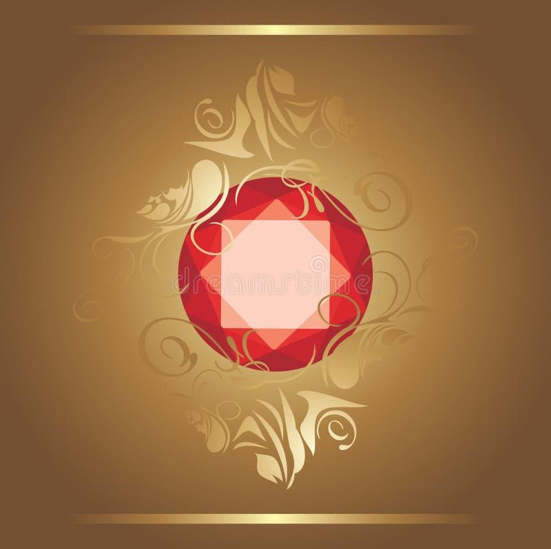 Shining ruby on the decorative background. Illustration stock illustration